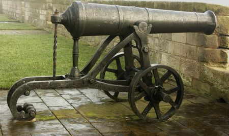ramparts: A Victorian cannon on the ramparts at Berwick upon Tweed Stock Photo