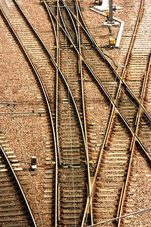 waverley: Railway points at Edinburgh Waverley Railway Station, Scotland. Stock Photo