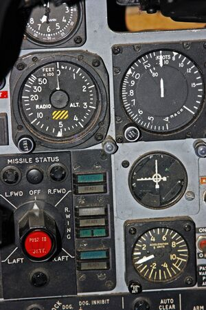 altimeter: Part of aircraft control panel showing Radio Altimeter, Speed, Acceleration Gauges
