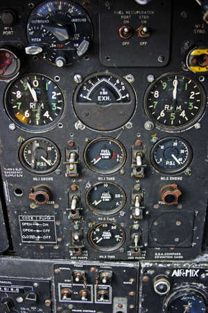 avionics: A section of the Engineers control panel from a Bomber Aircraft Stock Photo
