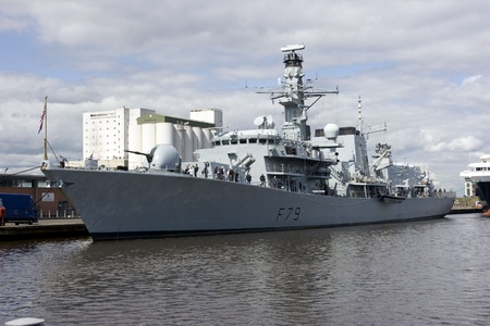duke: HMS Portland at Leith, Edinburgh, Scotland. HMS Portland is a type 23 Duke Class Frigate. Launched on the River Clyde in 1999. It is 133 metres long and has a displacement of 4,900 tonnes. Formerly used as anti-submarine ship. Editorial
