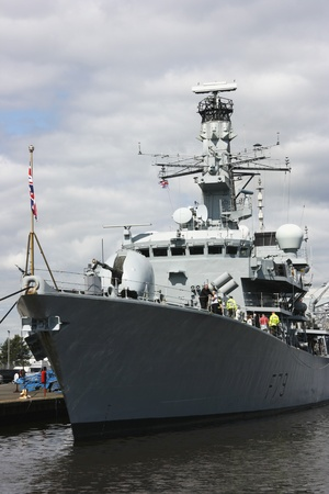 tonnes: HMS Portland at Leith, Edinburgh, Scotland. HMS Portland is a type 23 Duke Class Frigate. Launched on the River Clyde in 1999. It is 133 metres long and has a displacement of 4,900 tonnes. Formerly used as anti-submarine ship. Editorial