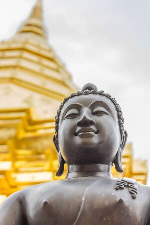 relics: buddha statue and golden relics Stock Photo