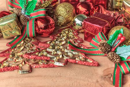 decorate: decorate chritmas tree, red and gold decorate Stock Photo
