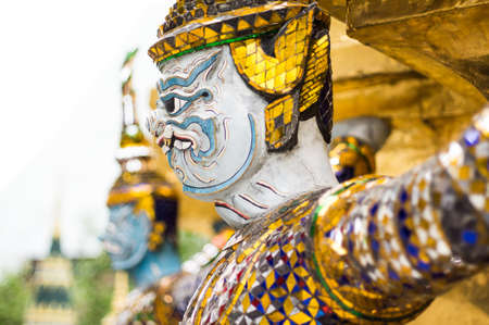Giants statue at wat pra keaw in Bangkok Thailand photo