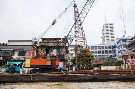 trenching: Machine working on the rivers