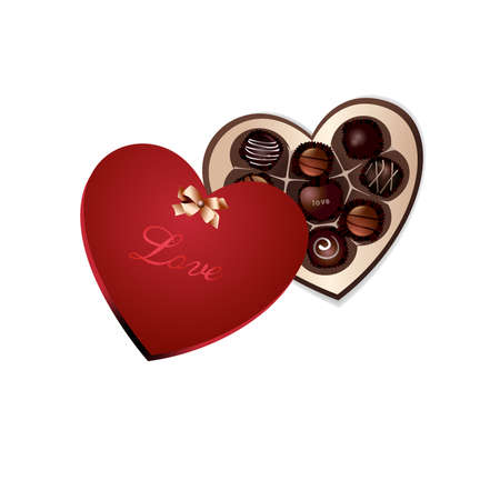 Red Heart Box of chocolate gifts. Illustration
