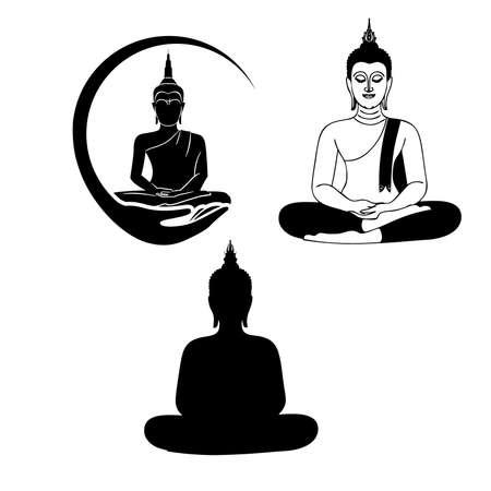 Drie zwart-wit Boeddha pictogram.