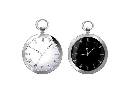 Retro Clocks Vector White and Black. Vectores