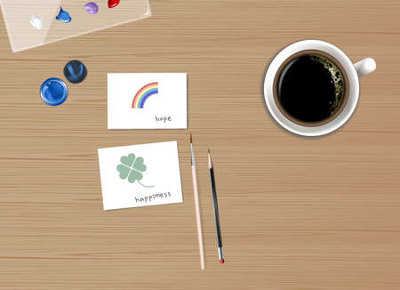 Top View coffee cup, Water Color, Cards  Painting  on wooden table. Stock Illustratie
