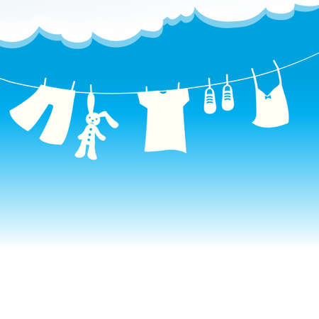 Clothes in the wind and sun vector.