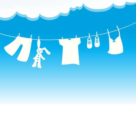 Vêtements dans le vecteur vent et soleil.