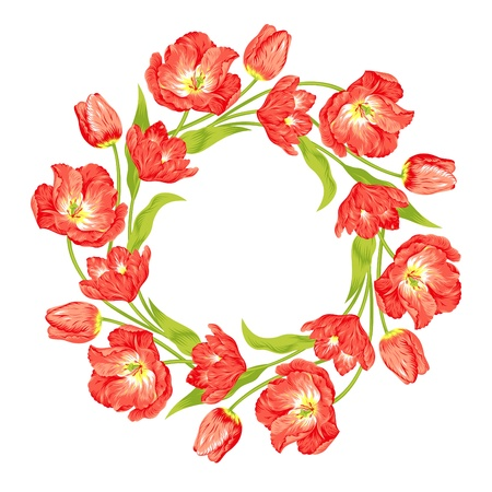 beautiful red tulips wreath Vector
