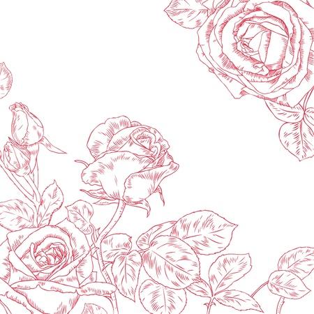 손 아름다운 장미를 그려
