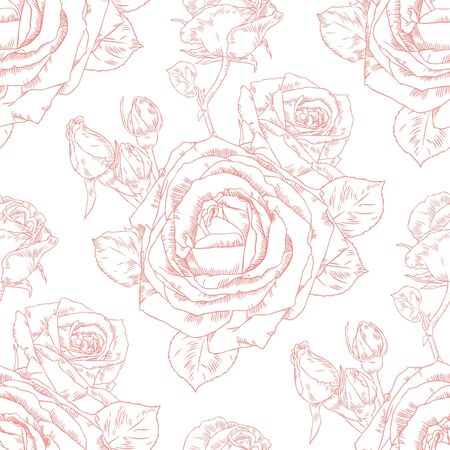 Seamless pattern with contour drawing beautiful roses