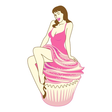 Woman on Birthday Cupcake