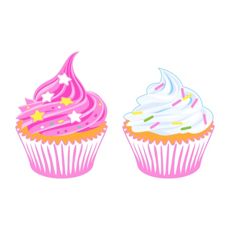 two cupcakes with sprinkles Stock Vector - 16980932