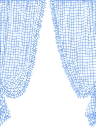 フレンチ スタイルで青いチェック カーテンのベクトル イラスト