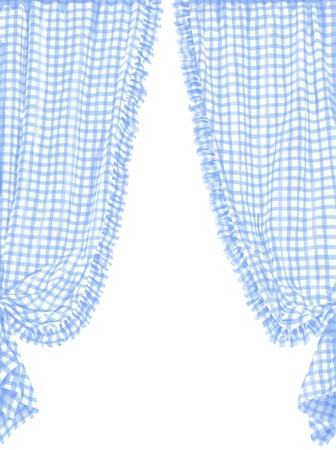 Ilustraci�n vectorial de la cortina azul a cuadros en estilo franc�s
