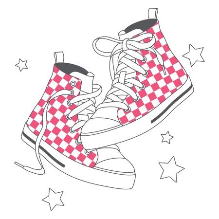 Ilustraci�n vectorial de zapatillas de deporte de moda decorado patr�n comprobado Vectores