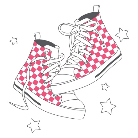 Vector illustration of fashion sneakers decorated checked pattern