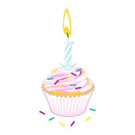 Vector iluustration of birthday cupcake with single candle Vector