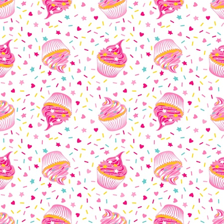 Vector illustration of seamless pattern with birthday cupcakes