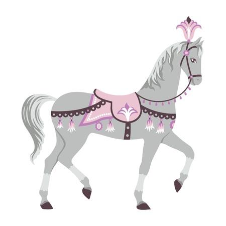 Ilustraci�n vectorial de poco gris caballo de circo, aislado en blanco Vectores