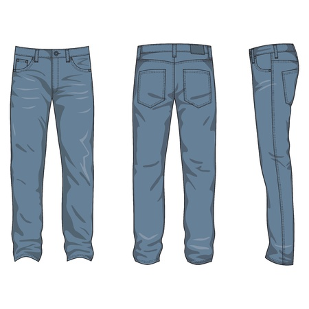 pants: Front, back and side views of men Illustration