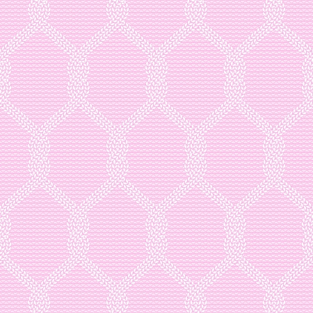 Vector illustration of knitted seamless pattern in pink colors