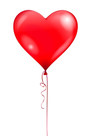 helium balloon: Heart balloon illustration contains a transparency effects and gradients  no mesh, no blend   Illustration