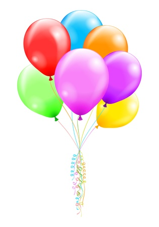 balloon bouquet: Bunch of colorful ballons illustration contains a transparency effects and gradients  no mesh, no blend