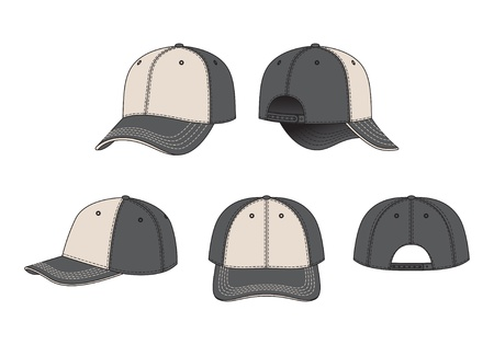 illustration of front, back and side views of peaked cap Illustration