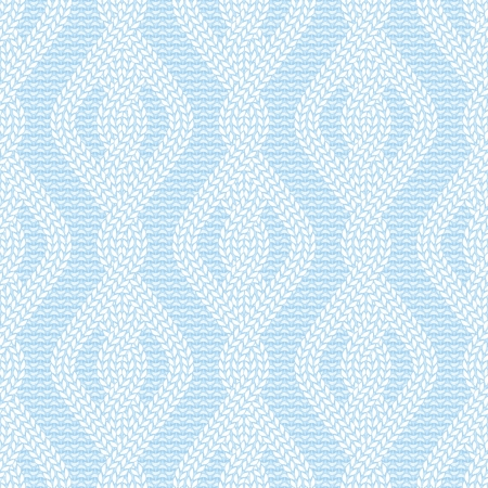 illustration of knitted seamless pattern in light blue colors Illustration