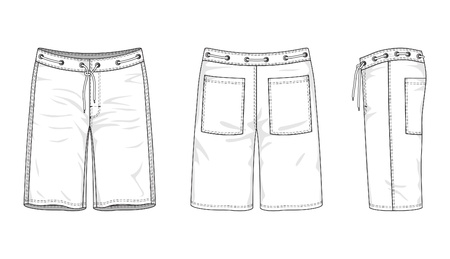 illustration of men s swimwear of front, back and side views 向量圖像