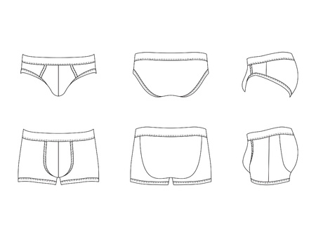 wit ondergoed: illustratie van mannen