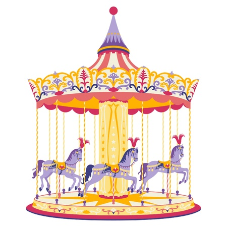 illustration of fun merry-go-round with three with horses