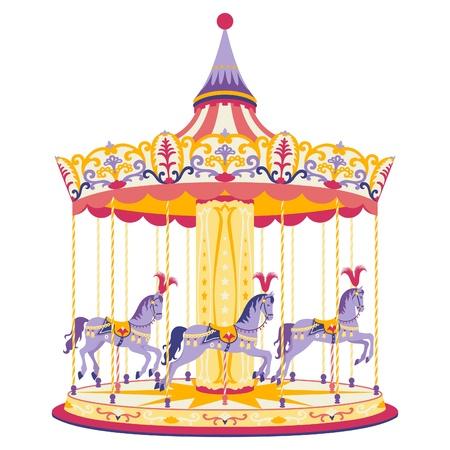 ilustraci�n de la diversi�n merry-go-round con tres caballos con
