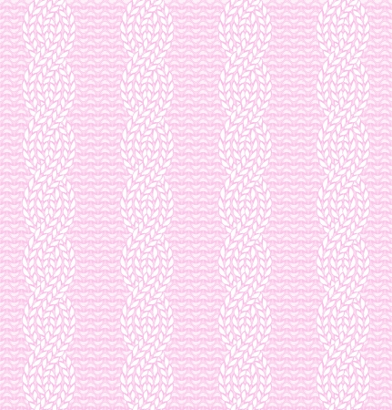 Vector illustration of knitted seamless pattern in pink colors, eps 8  Illustration