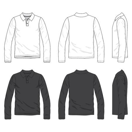 Frontal, posterior y lateral de la camiseta de polo en blanco