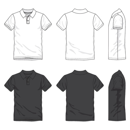 Front, back and side views of blank shirt
