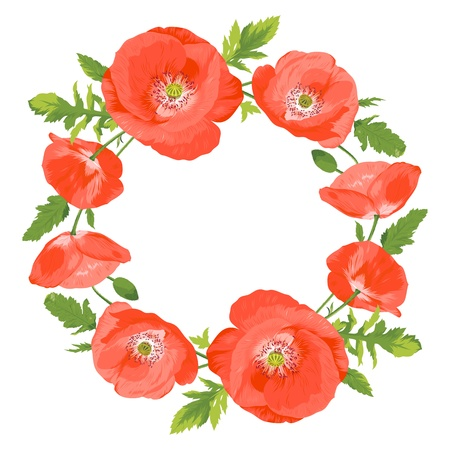 美しい赤いケシの花輪のベクトル イラスト  イラスト・ベクター素材