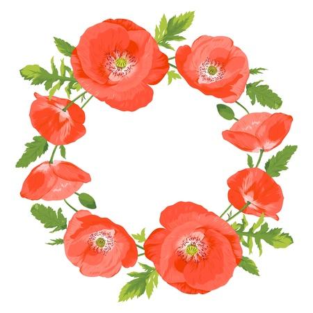 Ilustraci�n vectorial de la hermosa corona de amapolas rojas