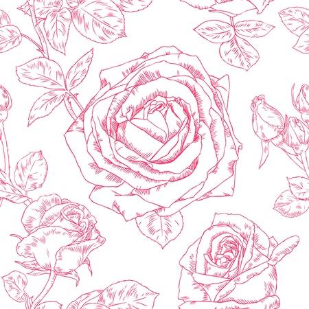 Patr�n sin fisuras con contorno dibujo hermosas rosas