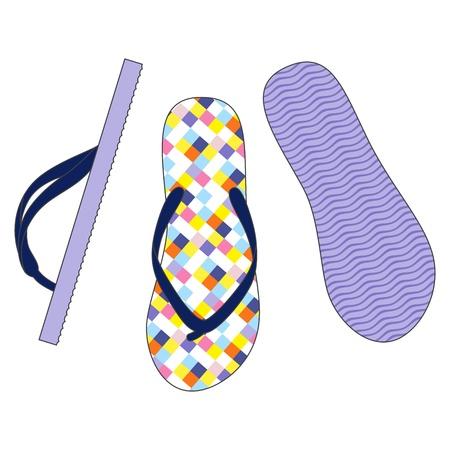 rubber sole: Vector set of colorful flip flops illustration