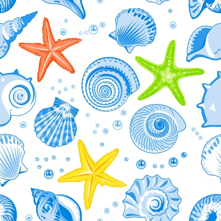 whelk: Vector illustration of seamless pattern with seashells