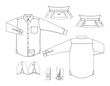 sleeve: Vector illustration of front and back views of mens classic shirt and details