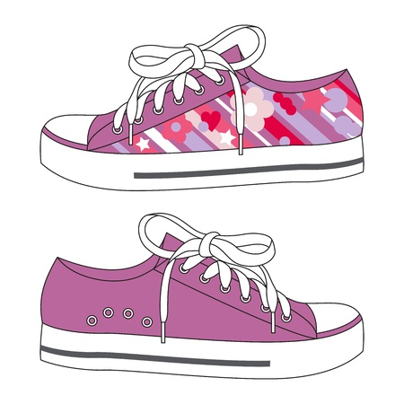 A pair fashion sneakers with floral pattern Stock Vector - 18162248