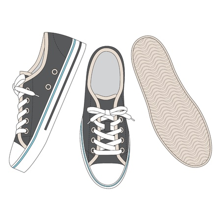 Front, back and side views of grey sneakers