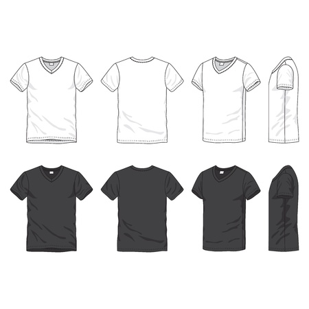 tee: Front, back and side views of blank t-shirt